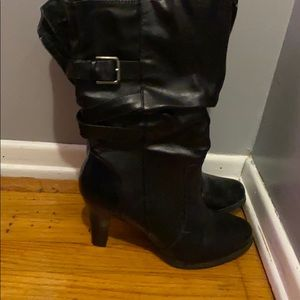 a.n.a heeled black boots with buckle detailing